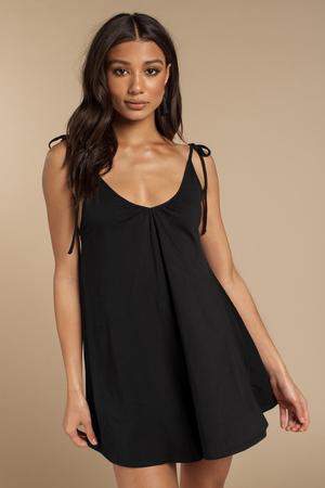 f2a18411fd2 Trendy Blue Life Black Dress - Tie Summer Dress - Black Floral Dress ...