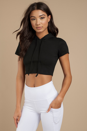 e715ab198e8 Trendy Black Crop Top - Cropped Hoodie - Short Sleeve Hoodie - $14 ...