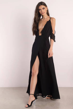 Black Dress Front Slit Dress Black Red Dress Maxi