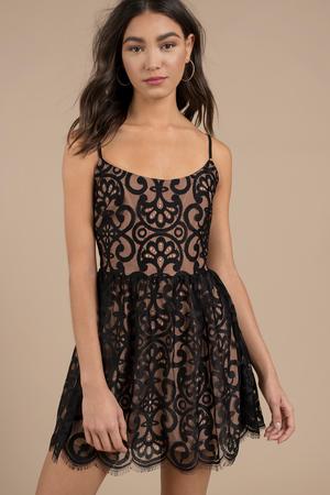 Chic Black Skater Dress - Strappy Lace Dress - Flattering Black ... b65508ab4