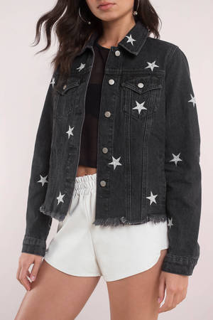 Trendy Black Jacket Star Print Jacket Black Jacket