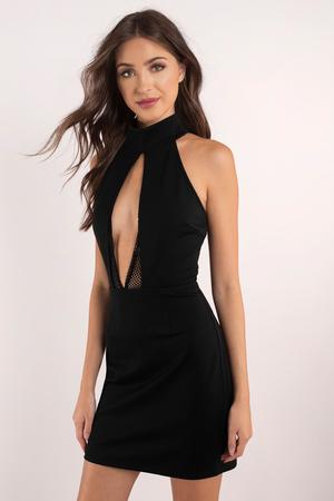 trendy black bodycon dress  halter dress  bodycon dress
