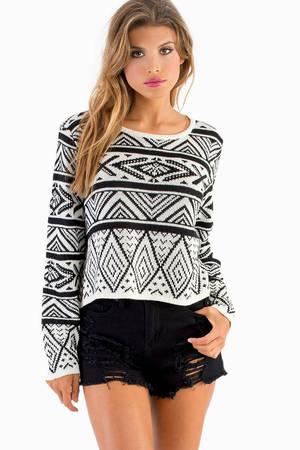 Black & White Sweater - Print Sweater - Cropped Sweater ...