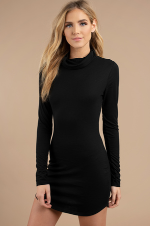 Cute Taupe Bodycon Dress Turtleneck Dress Bodycon Dress 12