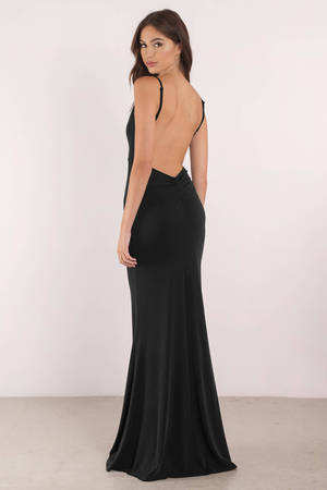 Sexy Black Dress Open Back Dress Plunging Neckline
