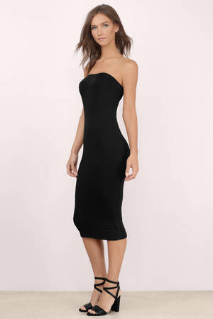 sexy black midi dress  black dress  strapless dress