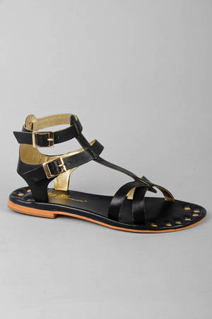 Black Matt Bernson Sandals Short Gladiator Sandals