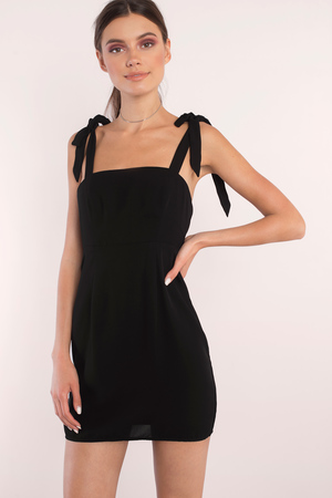 Trendy Black Bodycon Dress Bow Tie Strap Dress Bodycon