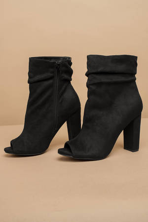 cc27807cb5034 Chic Black Boots - Buckled Cuff Boots - Black Ankle Wrap Boots ...