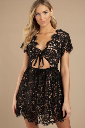 Deep V Neck Dresses Low Cut Dress Long Sleeve Plunge