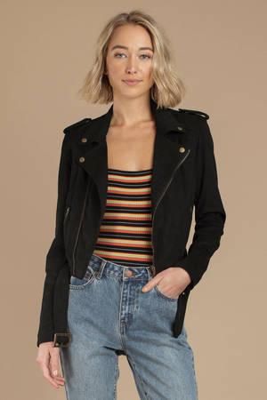 Women S Suede Jackets Faux Suede Moto Jacket Black