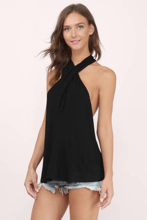 Black halter tank top