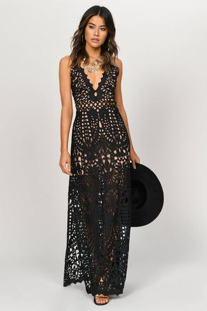 Riverisland Black Embroidered Lace Maxi Shirt Dress Floral embroidery lace  dresses
