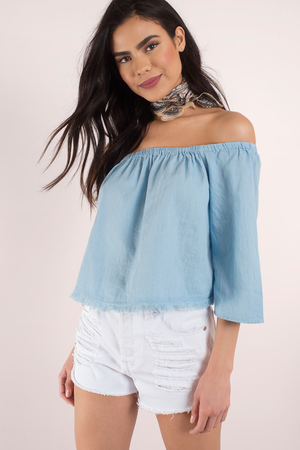 fd0bec67609 Blue & White Top - Off Shoulder Top - Cornflower Blue Top - $16 ...