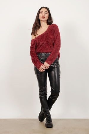 Burgundy Sweater - Red Sweater - Long Sleeve Sweater - $18 | Tobi US