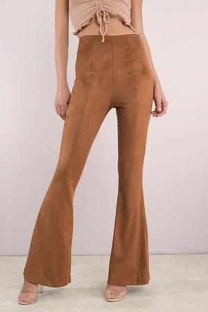 Camel Pants - Brown Pants - Flared Pants - Faux Suede