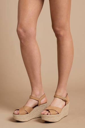 3e73ea7f88ab Brown Chinese Laundry Wedges - Ankle Wrap Espadrilles - Brown Summer Wedges  - £64