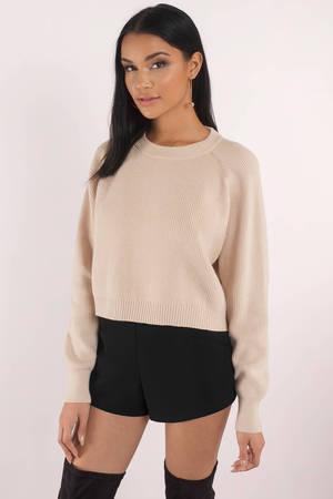 Sexy White Sweater - Cropped Sweater - White Crew Neck ...