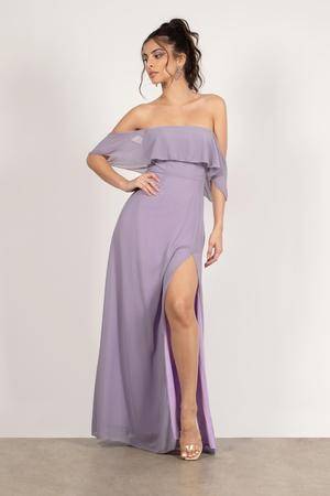 Cheap Long Purple One Sholder Dress