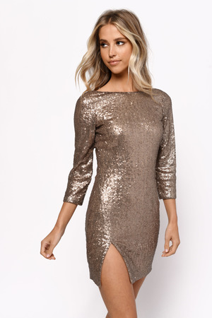 48e9f7bc3437 Gold Shift Dress - Cami Dress - Gold Low Back Dress - Champagne ...