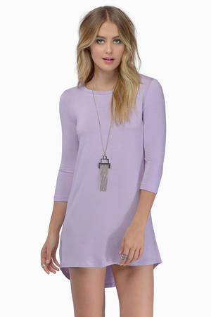 Tunic Dress - Long Sleeve Dress - Purple Dress - Aqua High Low ...
