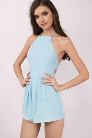 Light Blue Romper Back Cut Out Romper Halter Romper