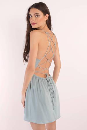 Light Blue Skater Dress Strappy Dress Blue Dress