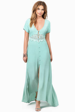 Trendy Mint Maxi Dress - Crochet Panel Dress - $13.00