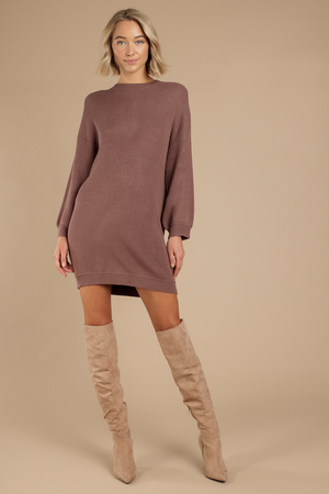 4be35780813c Brown Sweater Dress - Crew Neck Dress - Brown Day Dress -  38