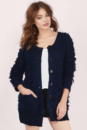 Cheap Navy Cardigan - Knitted Cardigan - Navy Cardigan - $26 | Tobi US
