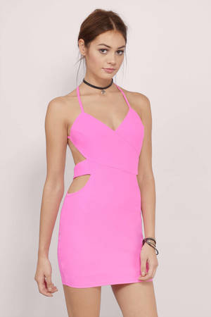 Elora Neon Pink Bodycon Dress $50 00 #0: neon pink elora bodycon dress