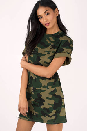 Olive Dress Camo Dress Green Dress Army Print Dress