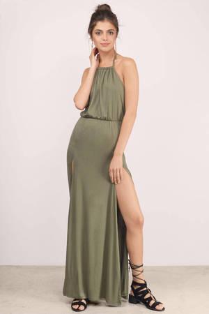 Sexy Olive Maxi Dress Front Slit Dress Maxi Dress