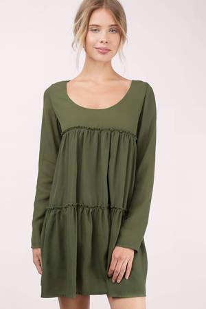 42c4e960988 Cute Mint Green Shift Dress - Long Sleeve Dress - Tiered Dress - AU  17