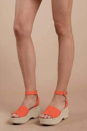 190bee691ae9 Orange Dolce Vita Wedges - Brunch Wedges - Bright Orange Wedges -  56