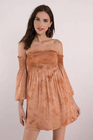 9b4db19ced02 Cute Terracotta Dress - Off Shoulder Dress - Long Sleeve Dress -  29 ...