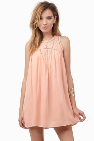 Peach Day Dress Peach Dress Babydoll Mini Dress Day
