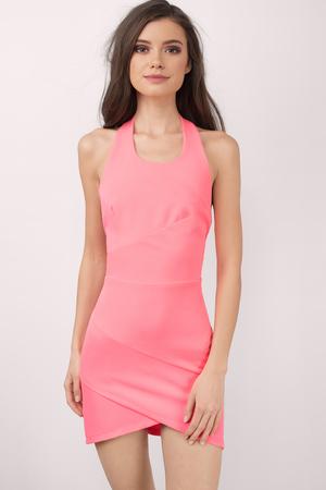 Cute Pink Dress Halter Dress Beautiful Pink Dress
