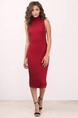 Cute Red Midi Dress - Red Dress - Ribbed Dress - Midi Dress - € 15