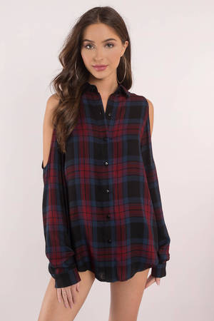 e42fae5b0 Red Shirt - Distressed Button Down Shirt - Red Cropped Plaid Top ...
