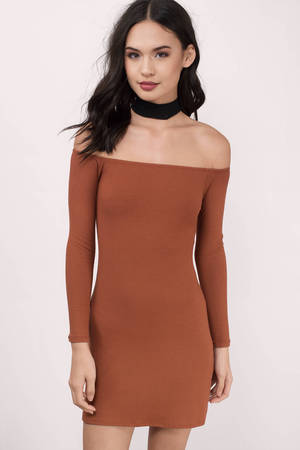 88d0c68ef7be Cute Terracotta Dress - Off Shoulder Dress - Long Sleeve Dress -  29 ...