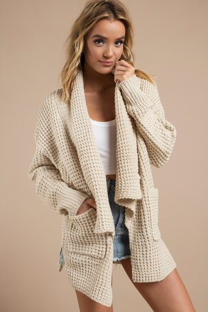 Trendy Taupe Cardigan Knitted Cardigan Taupe Cardigan