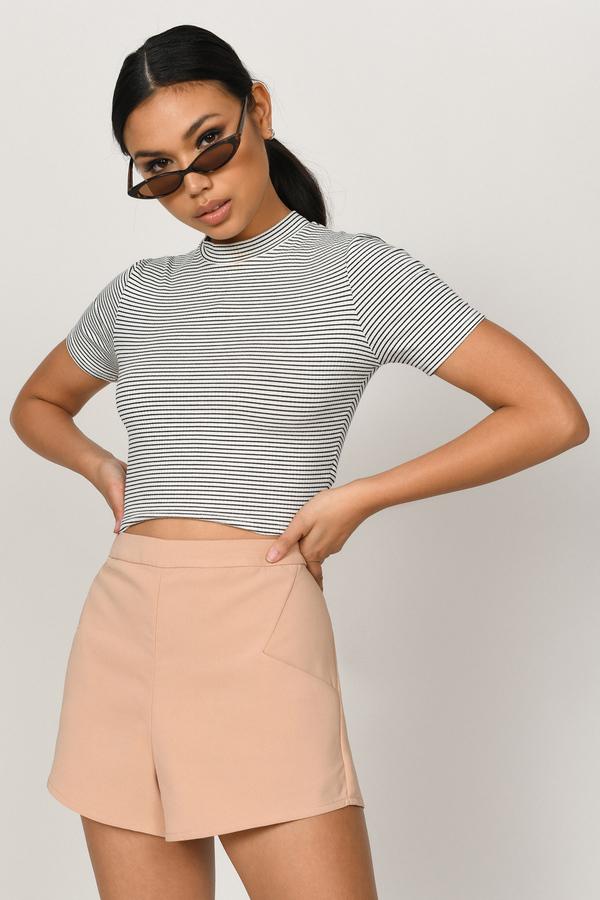 High Waisted Shorts | Denim, Cotton, Flowy | Tobi