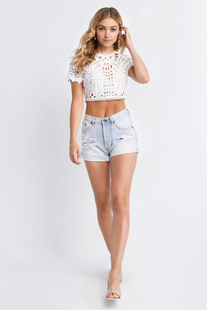 Alice White Lace Crop Top