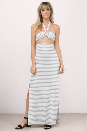 Halter Dresses | White, Black, Halter Top, High Neck, Prom Maxi | Tobi