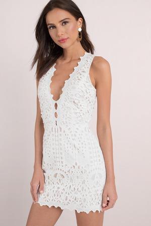 938c6e93f02 Chic White Bodycon Dress - Slimming Dress - White Lace Bardot Dress ...