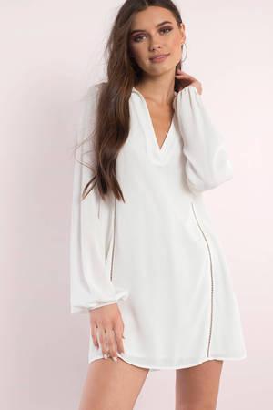 Cute White Day Dress - Long Sleeve Dress - $78.00