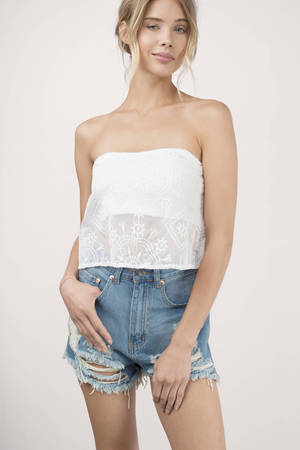 Cute White Crop Top - Strapless Top - White Top - White