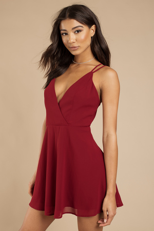 6a343b3216 Chic Wine Skater Dress - Surplice Cami Dress - Burgundy Swing Dress ...