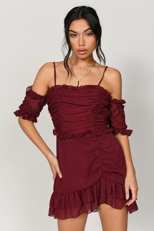 Just Met You Wine Mini Dress